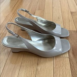 Patent Leather Nude Open Toe Sandals